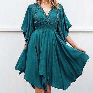 NWT Sucrefas teal bell sleeve empire waist dress m